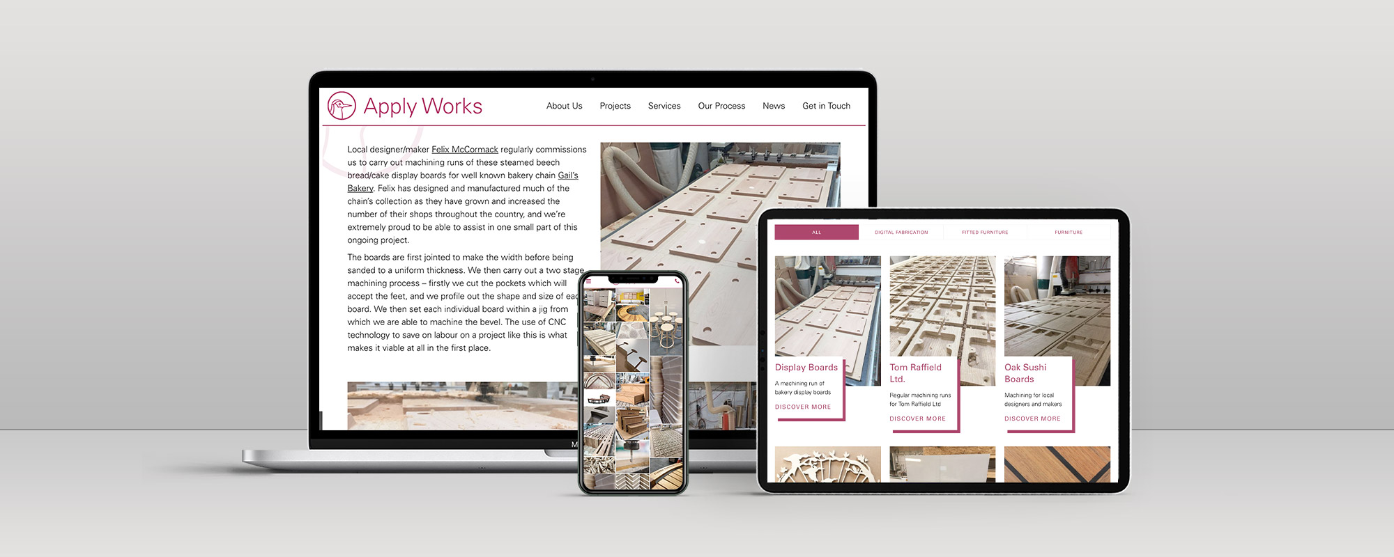 Apply Works Wordpress Website Design on 3 Devices