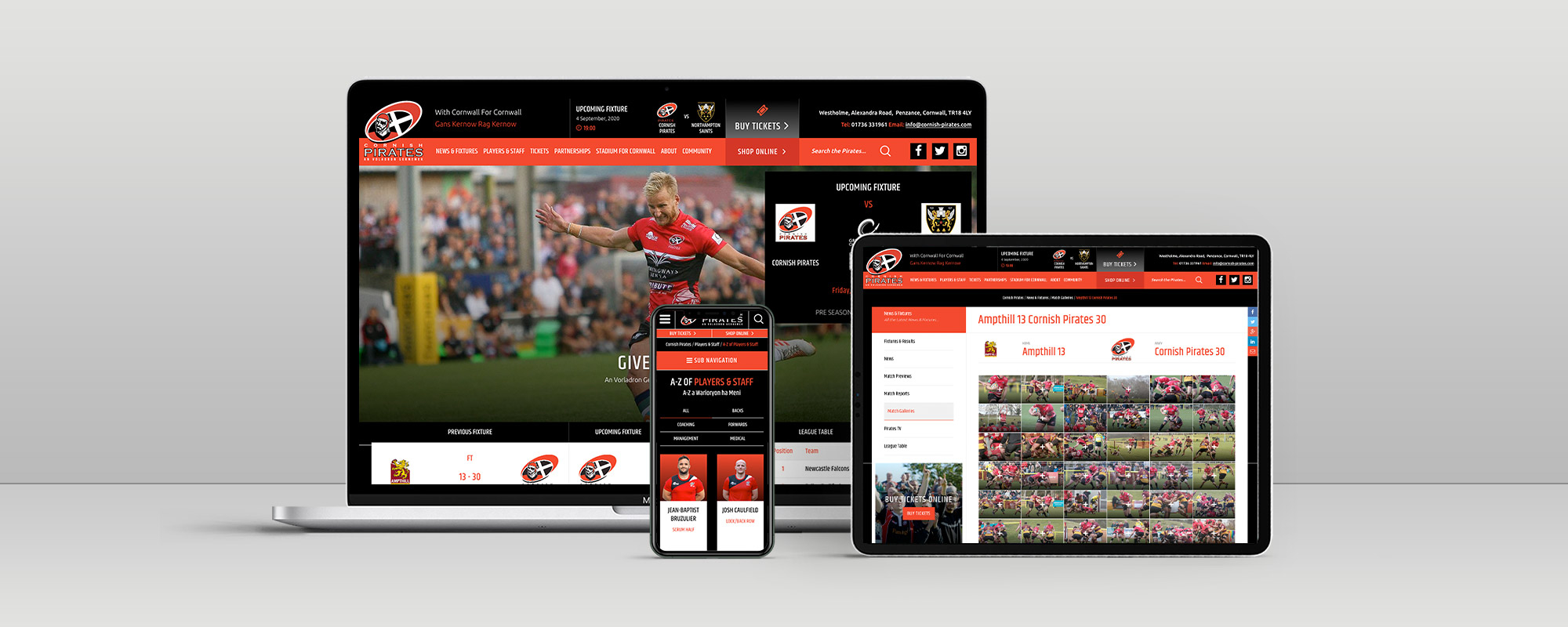 Cornish Pirates Wordpress Website Design on 3 Devices
