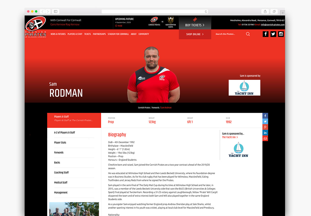 Cornish Pirates Wordpress Website Design Profile Page