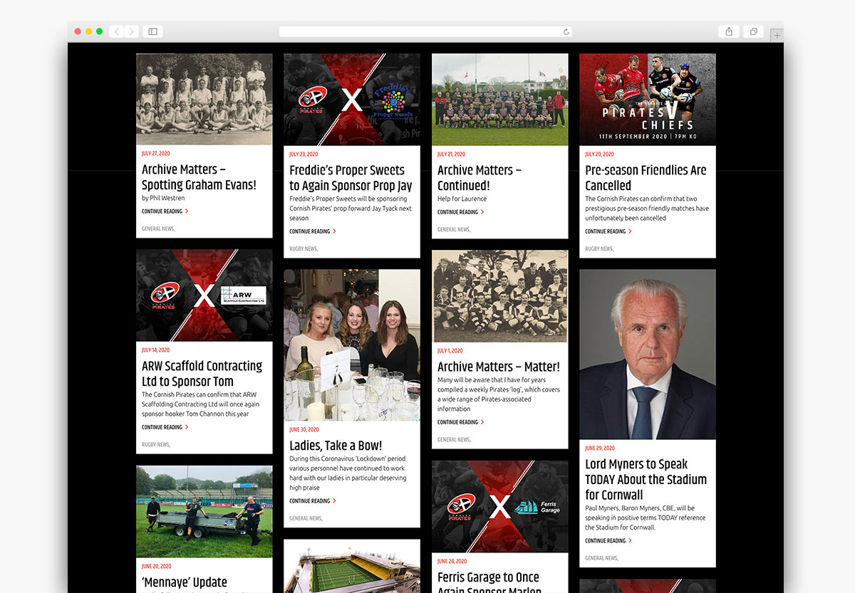 Cornish Pirates Wordpress Website Design News Page