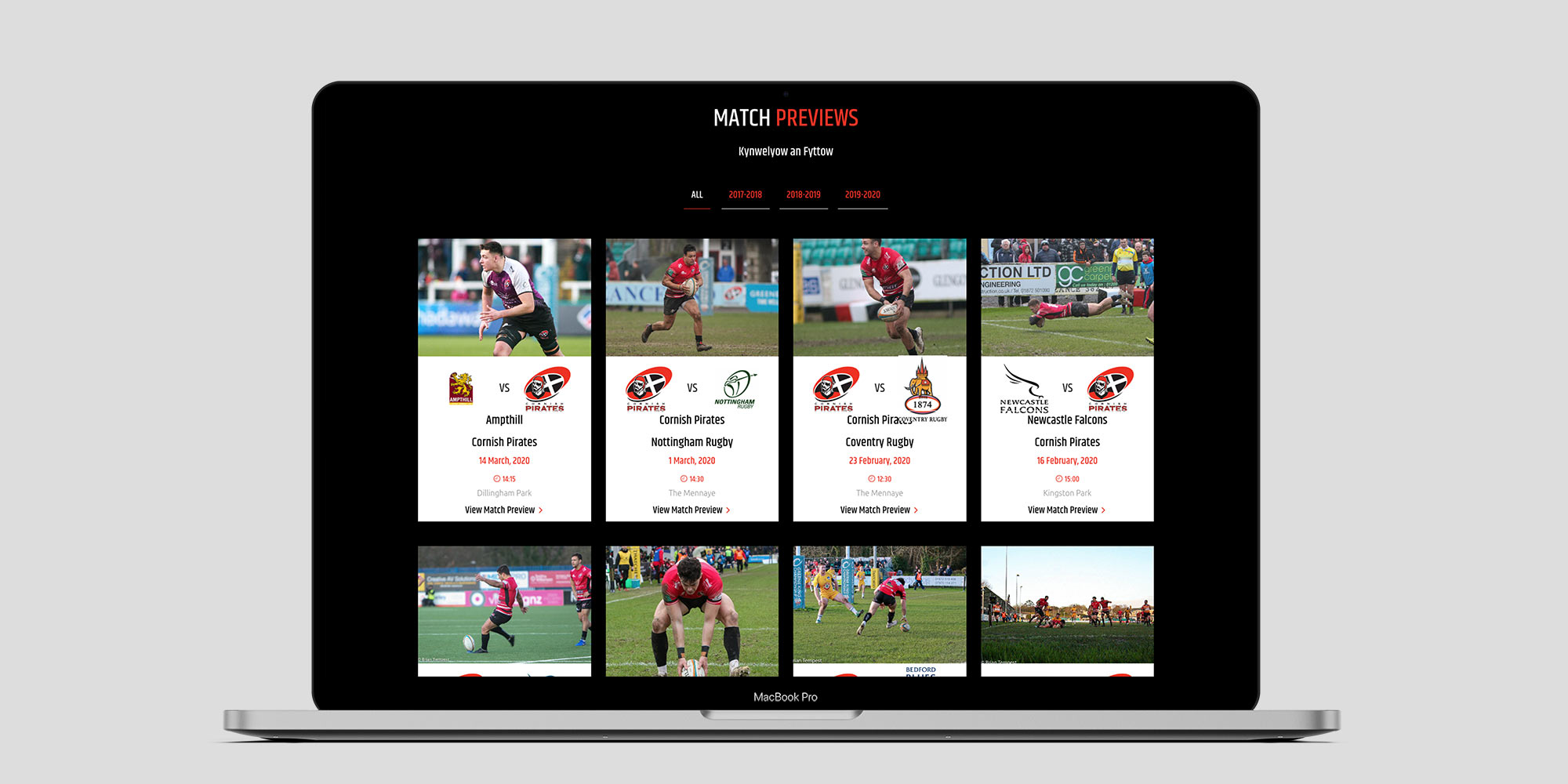 Cornish Pirates Wordpress Website Design Match Previews