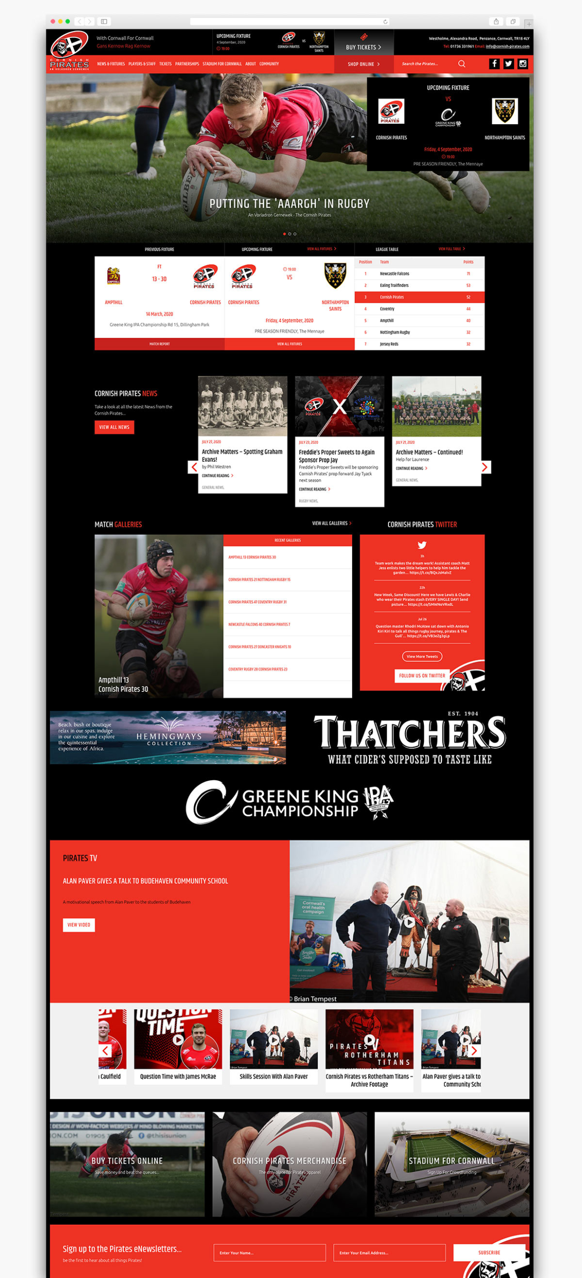 Cornish Pirates Wordpress Website Design Homepage