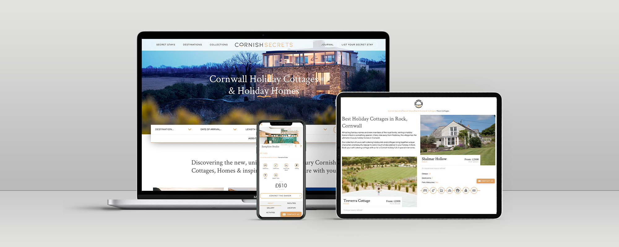Cornish Secrets Wordpress Website Design on 3 Devices