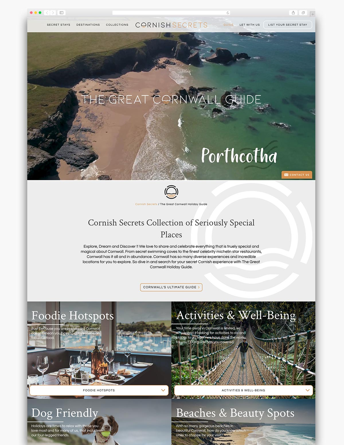 Cornish Secrets Wordpress Website Page Design
