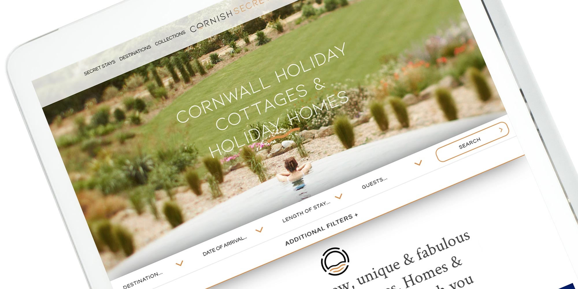 Cornish Secrets Wordpress Website Design on Tablet