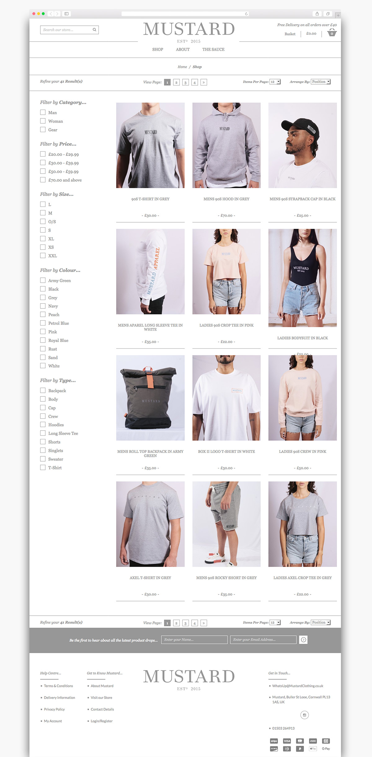 Mustard Clothing Magento Ecommerce Page Design