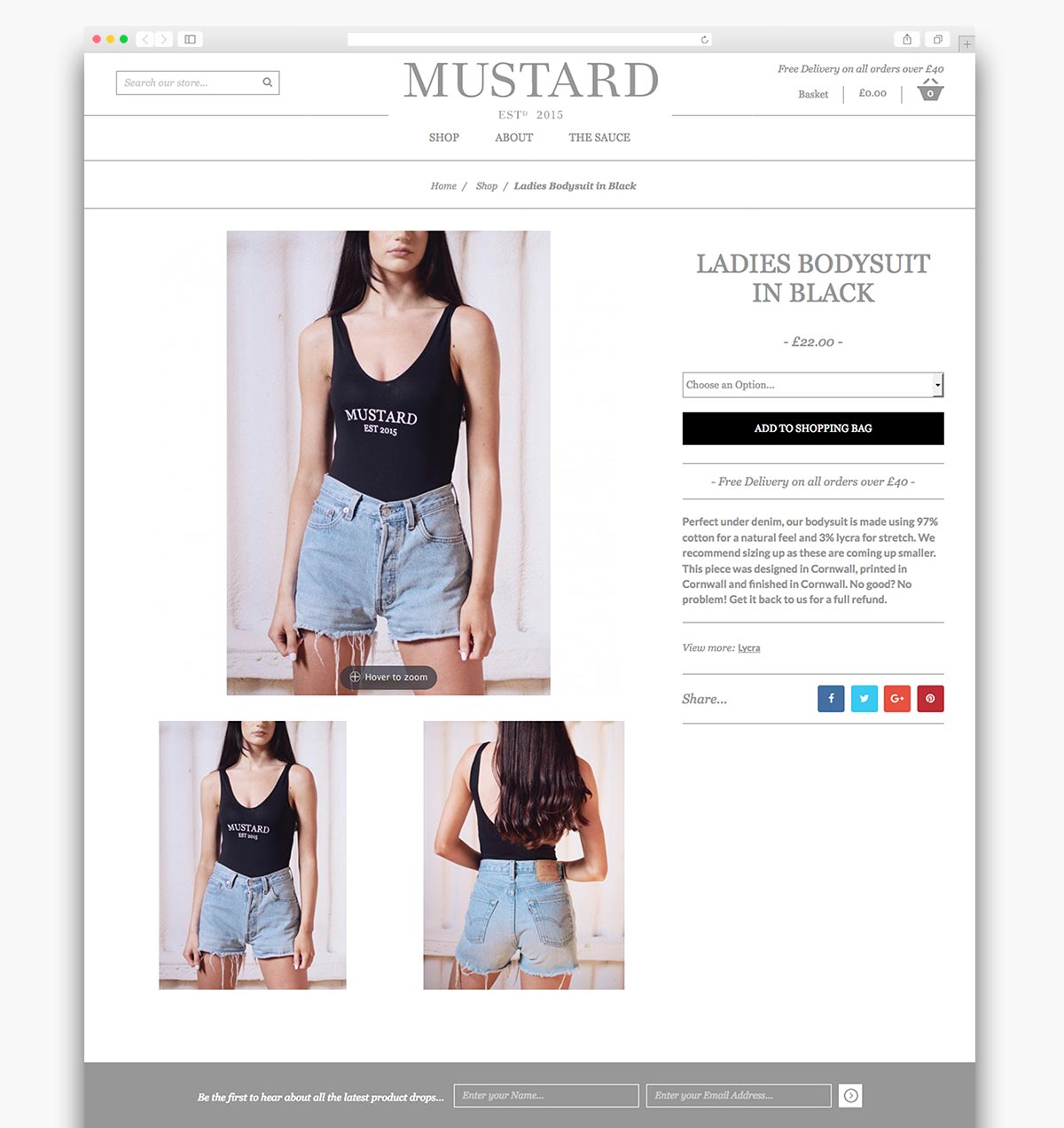 Mustard Clothing Magento Ecommerce Homepage Design