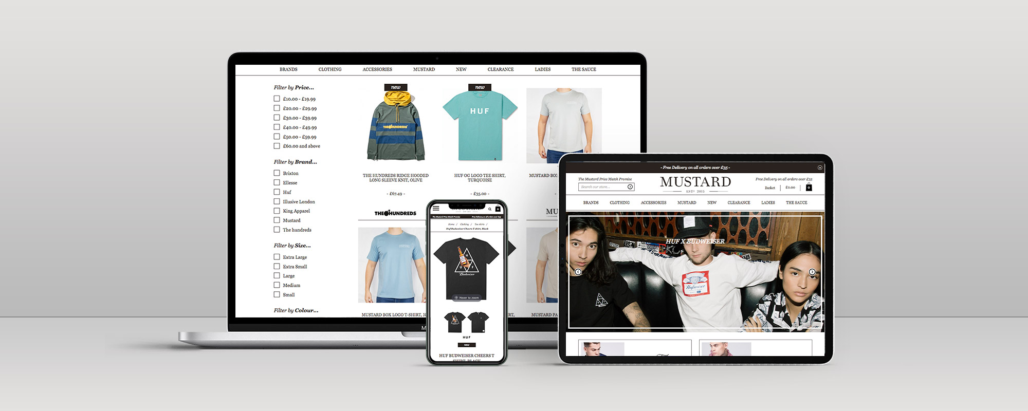 Mustard Clothing Magento Ecommerce Website Design on 3 Devices