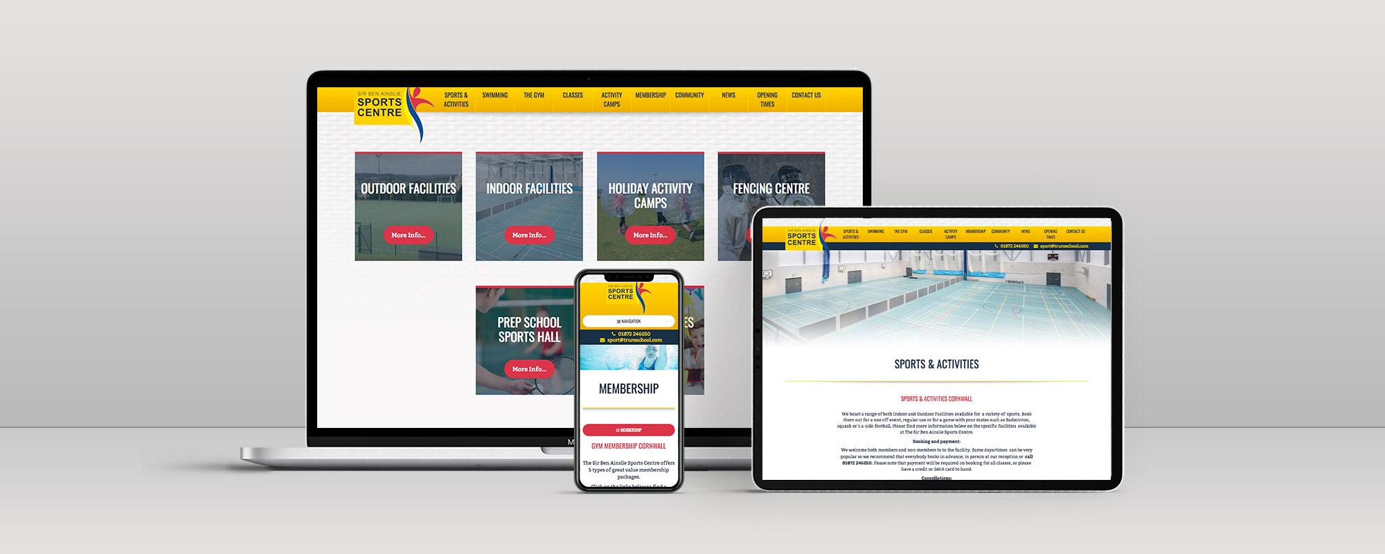 Sir Ben Ainslie Sports Centre Wordpress Website Design on 3 Devices