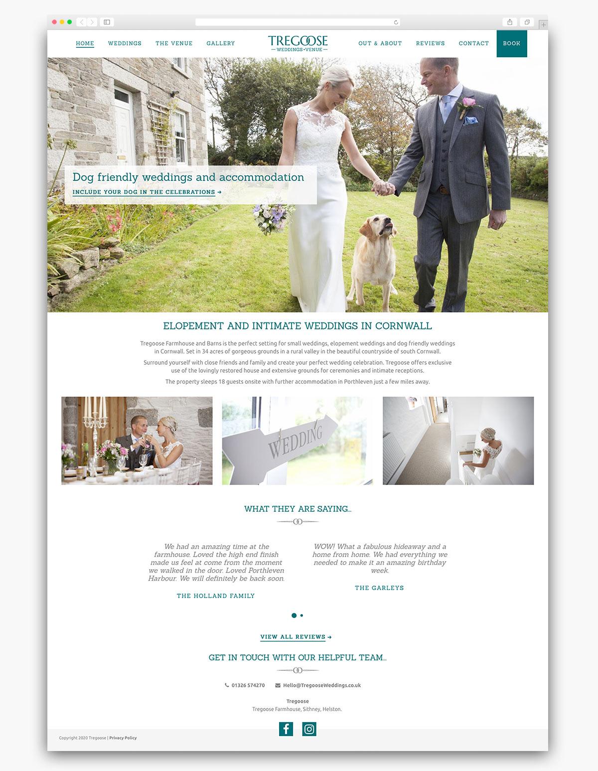 Tregoose Weddings Wordpress Website Design Homepage