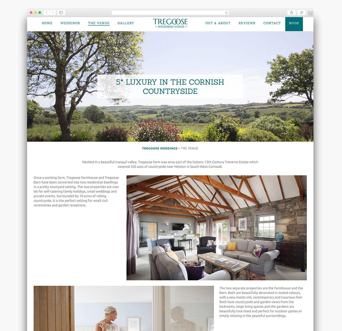 Tregoose Weddings Wordpress Website Design Page