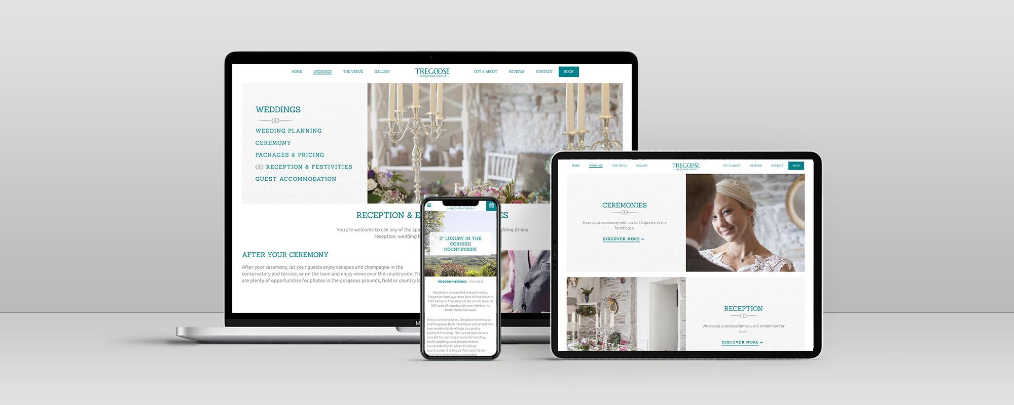 Tregoose Weddings Wordpress Website Design on 3 Devices