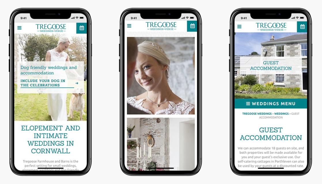 Tregoose Weddings Wordpress Website Design on Mobile Devices