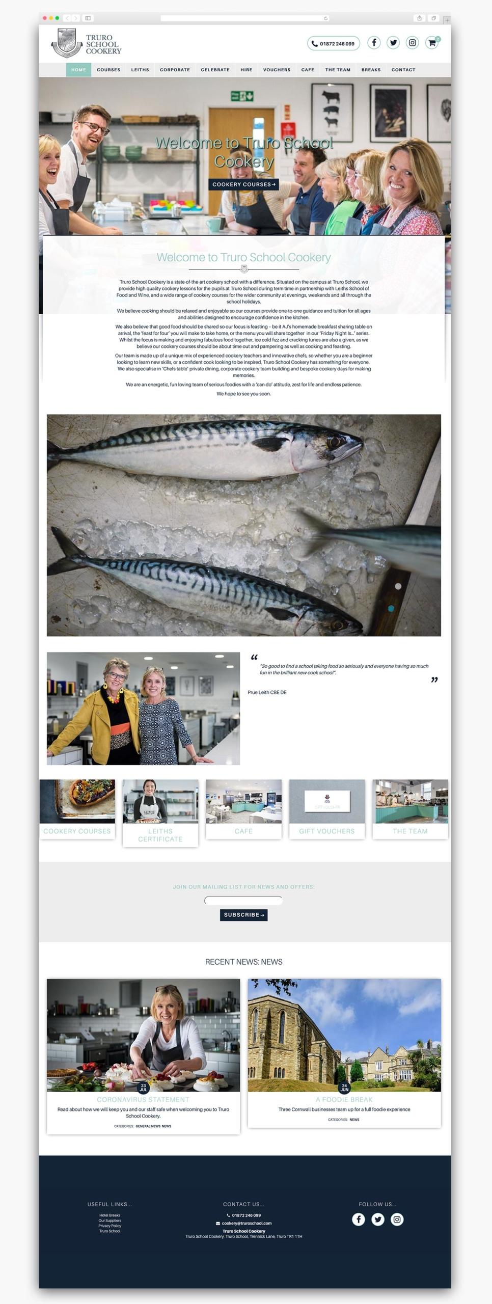 Truro School Cookery Wordpress Website Homepage Design