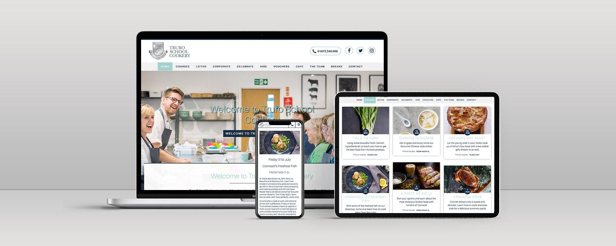 Truro School Cookery Wordpress Website Design on 3 Devices