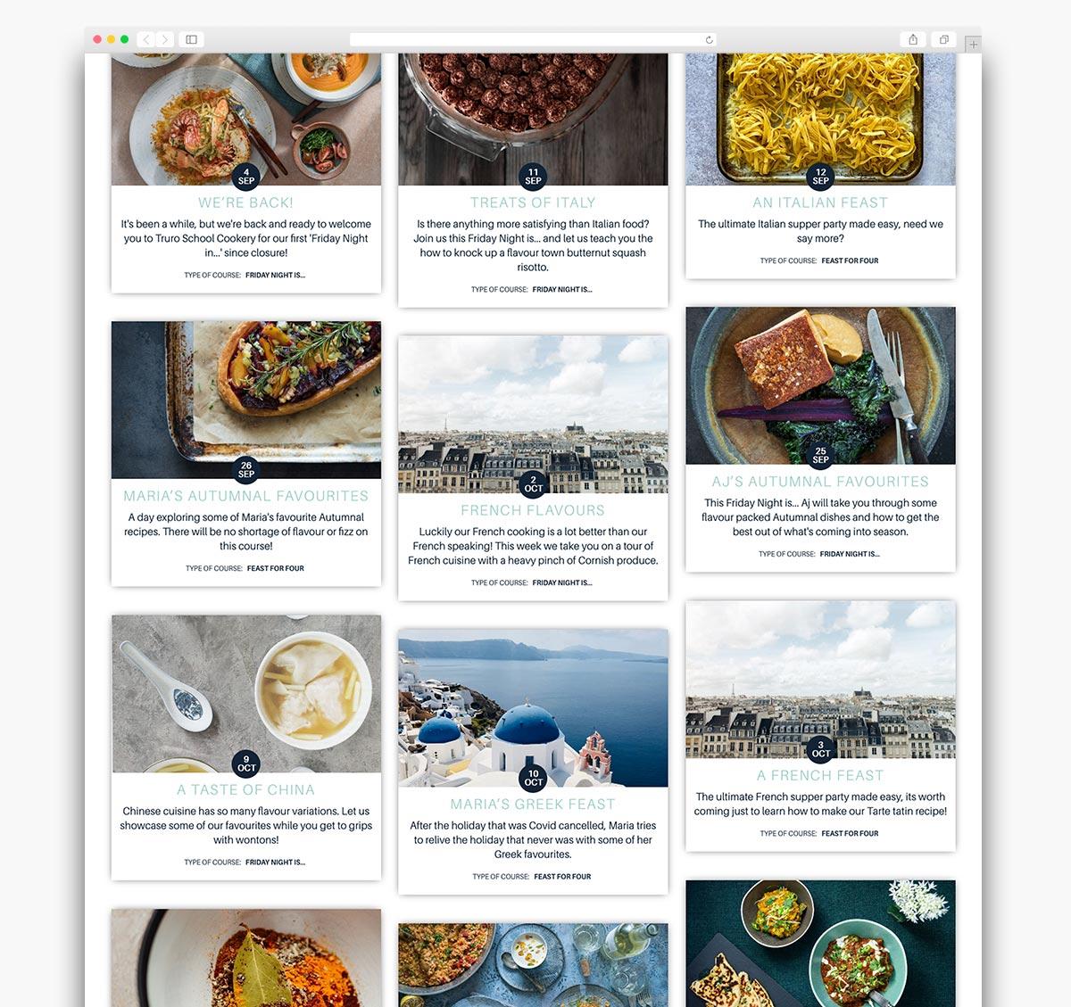 Truro School Cookery Wordpress Website Page Design