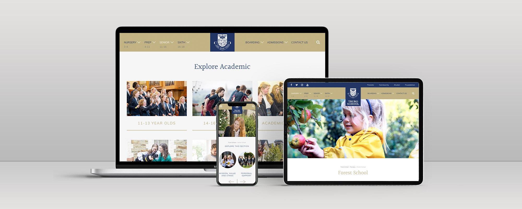 Truro School Wordpress Website on 3 Devices