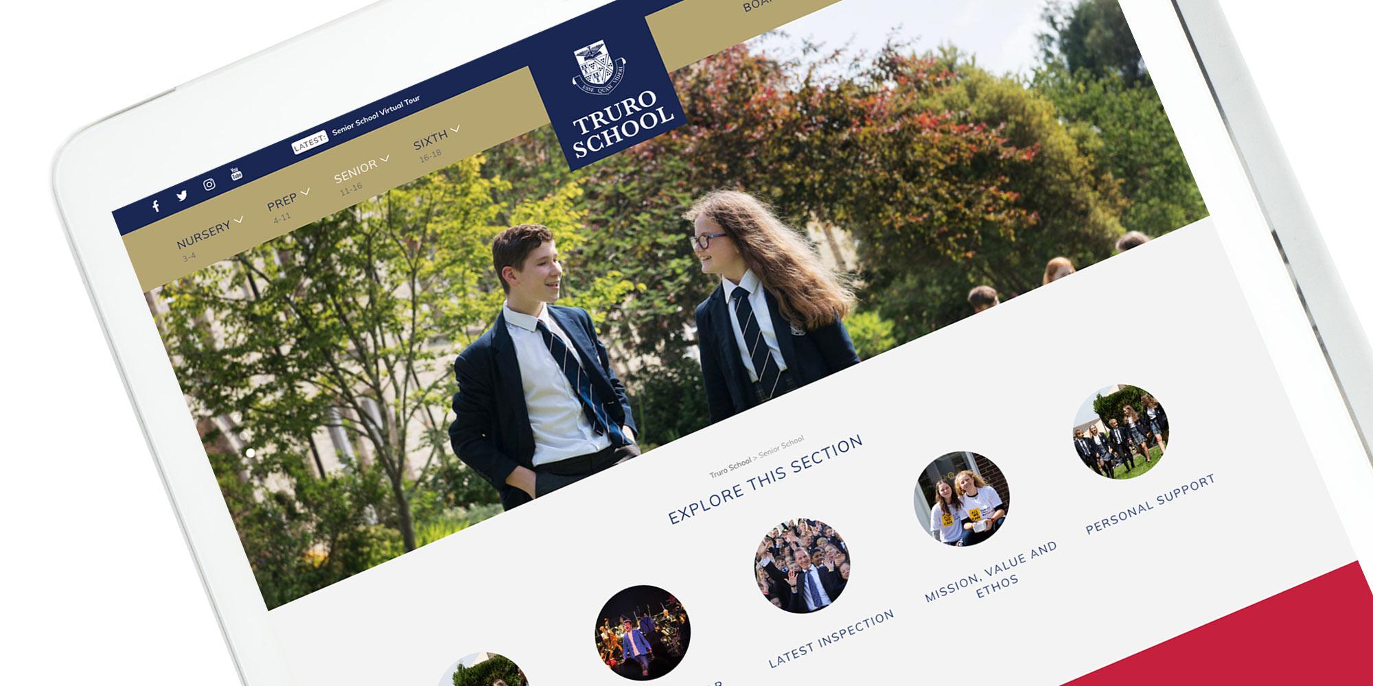 Truro School Wordpress Website on Tablet Device