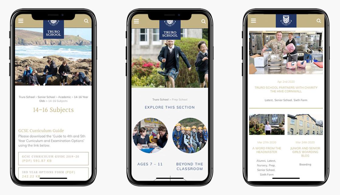 Truro School Wordpress Website on Mobile Devices