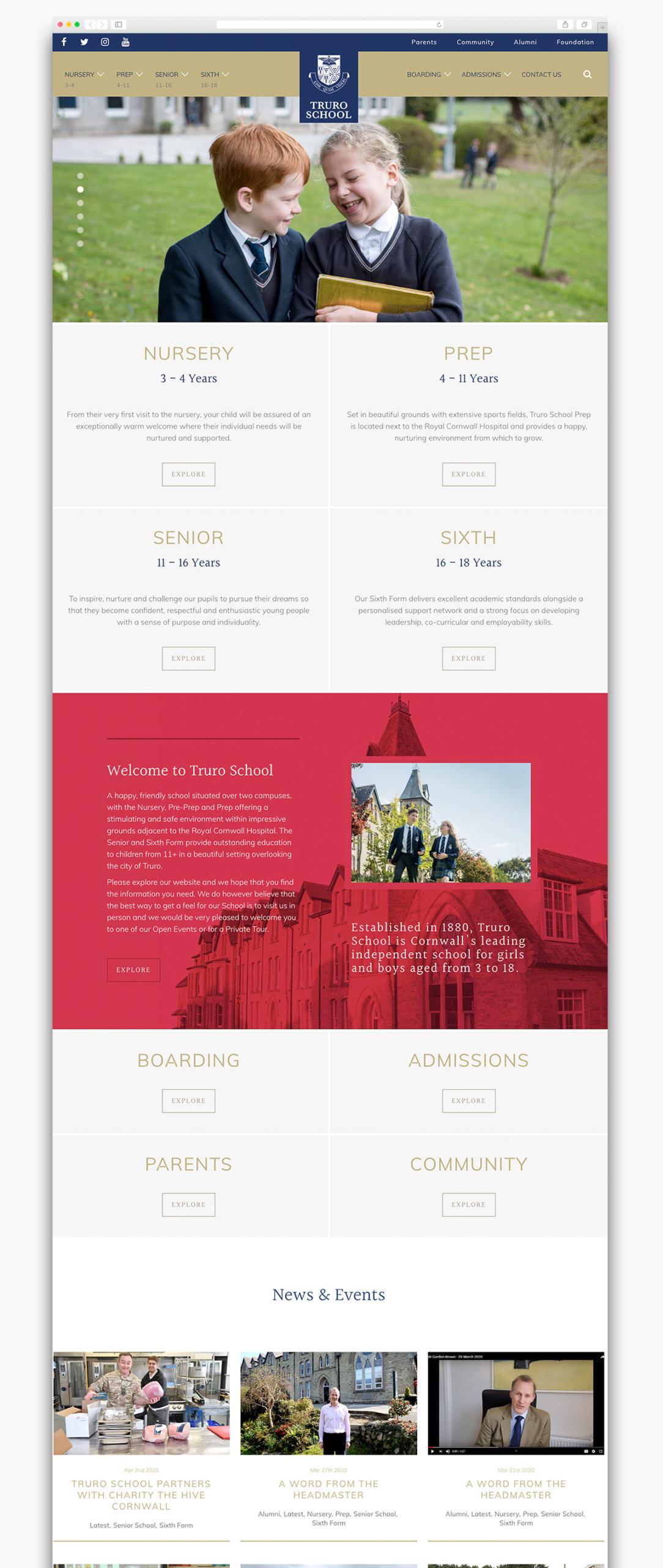 Truro School Wordpress Website Homepage