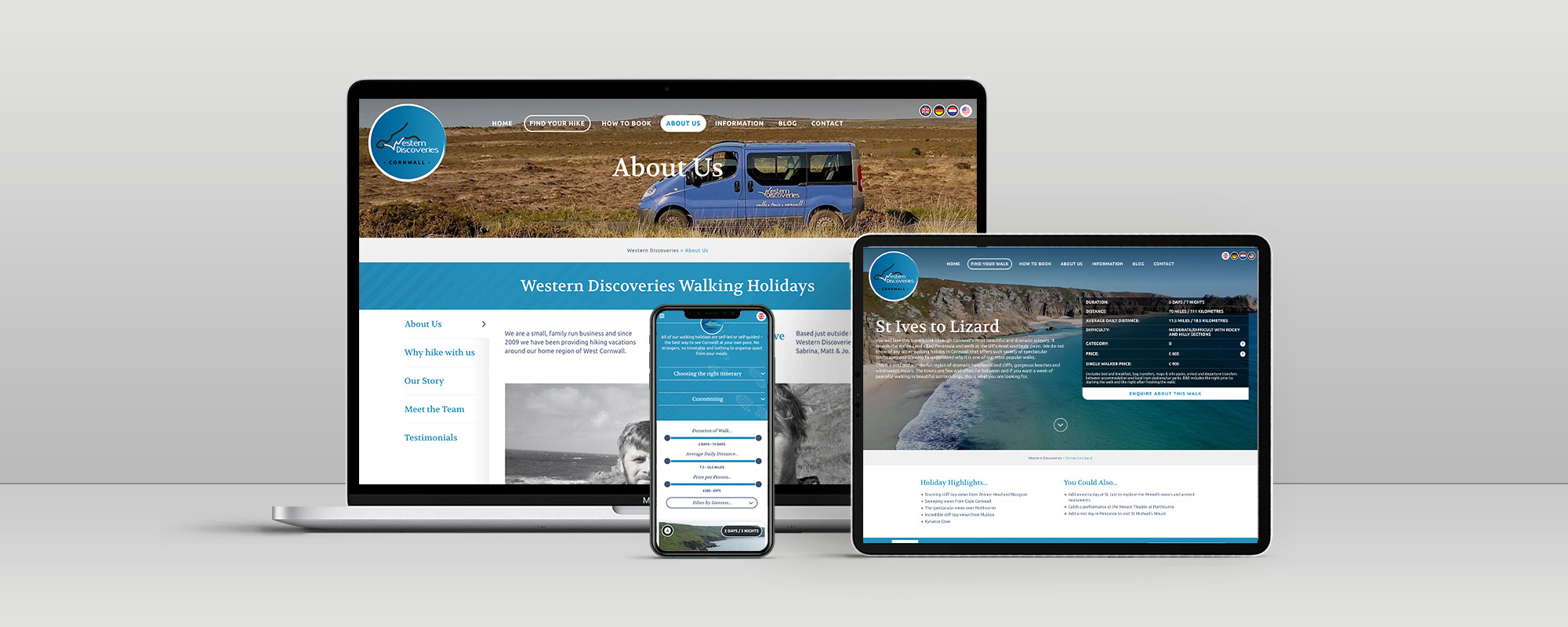 Western Discoveries Wordpress Website Design on 3 Devices