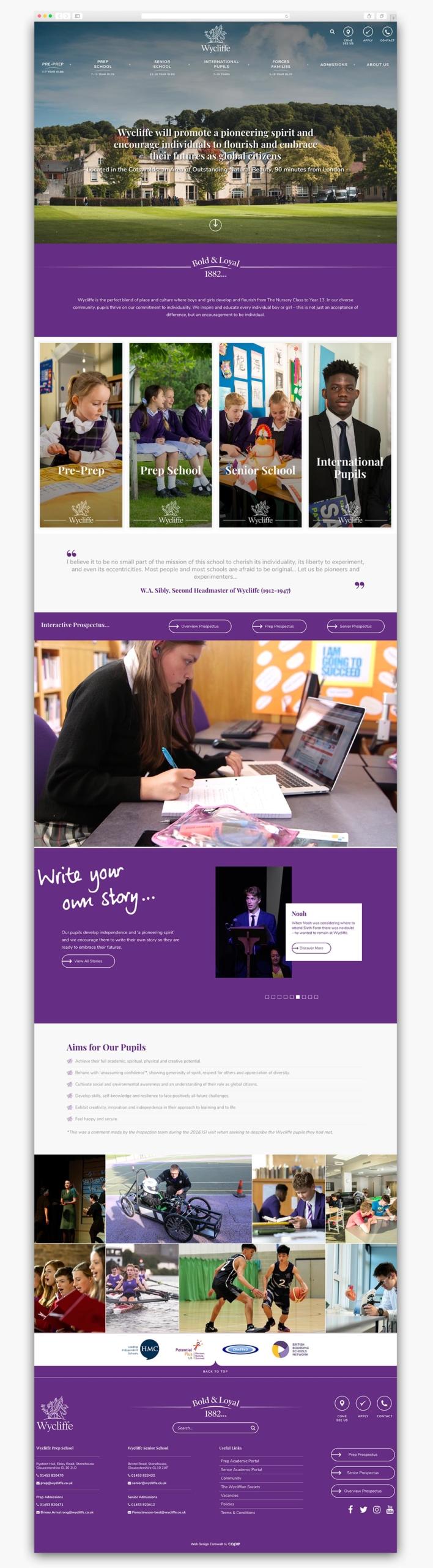 Wycliffe College Wordpress Website Homepage Design