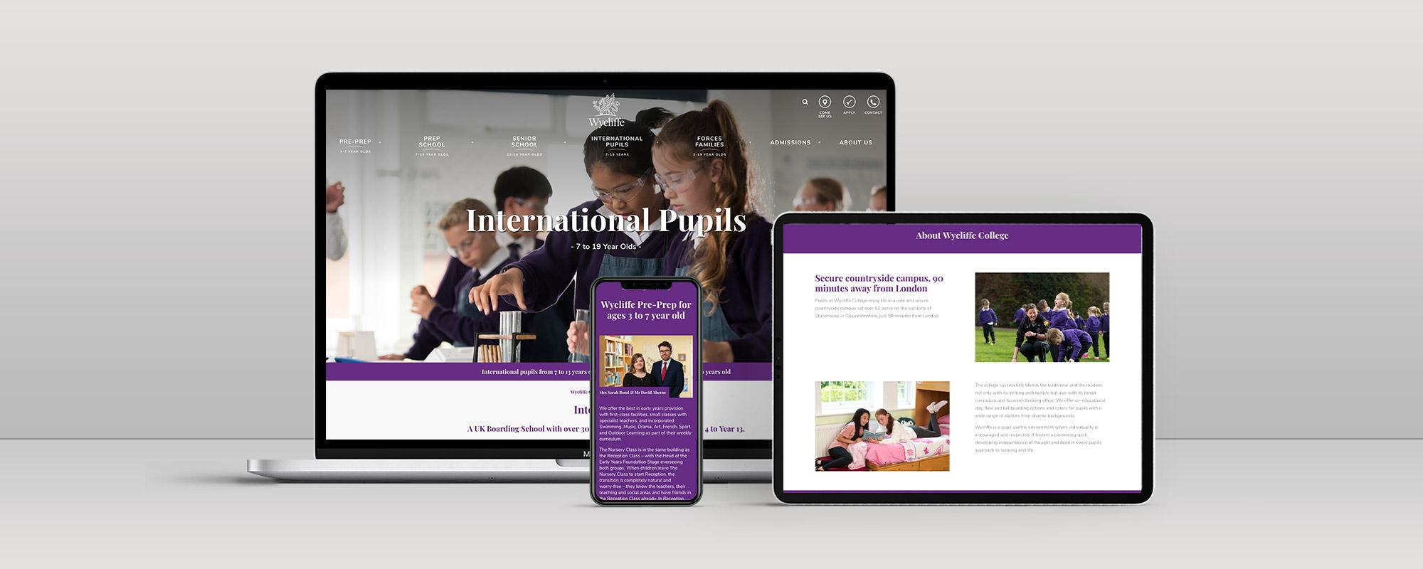 Wycliffe College Wordpress Website Design on 3 Devices