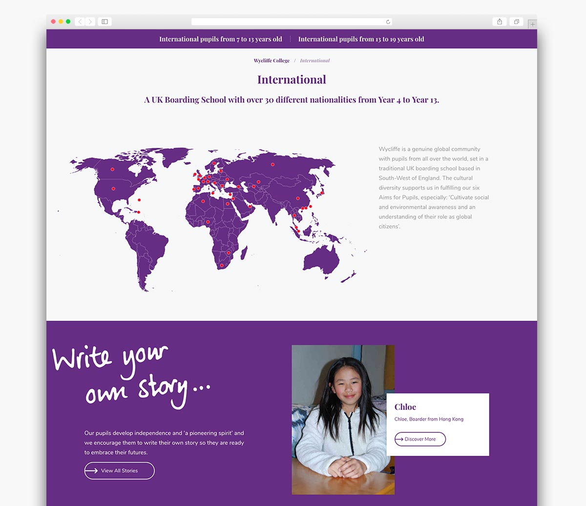 Wycliffe College Wordpress Website Page Design