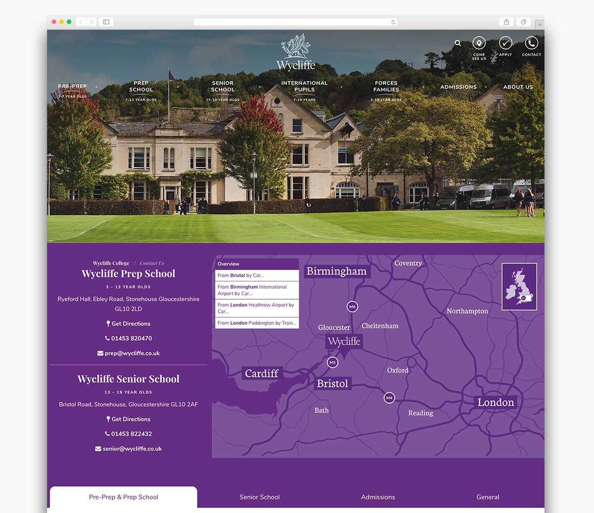 Wycliffe College Wordpress Page Design