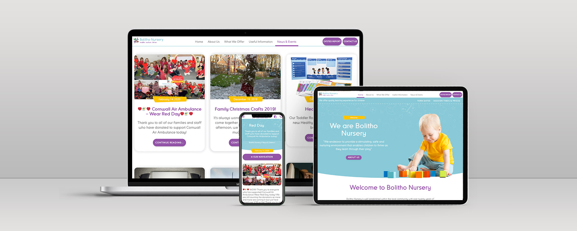 Bolitho Nursery Wordpress Website Design on 3 Devices