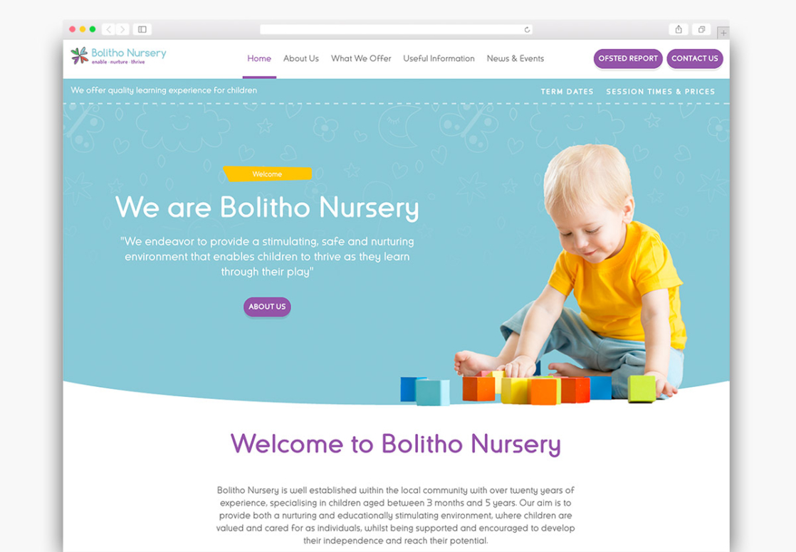 Bolitho Nursery Wordpress Website Homepage Design