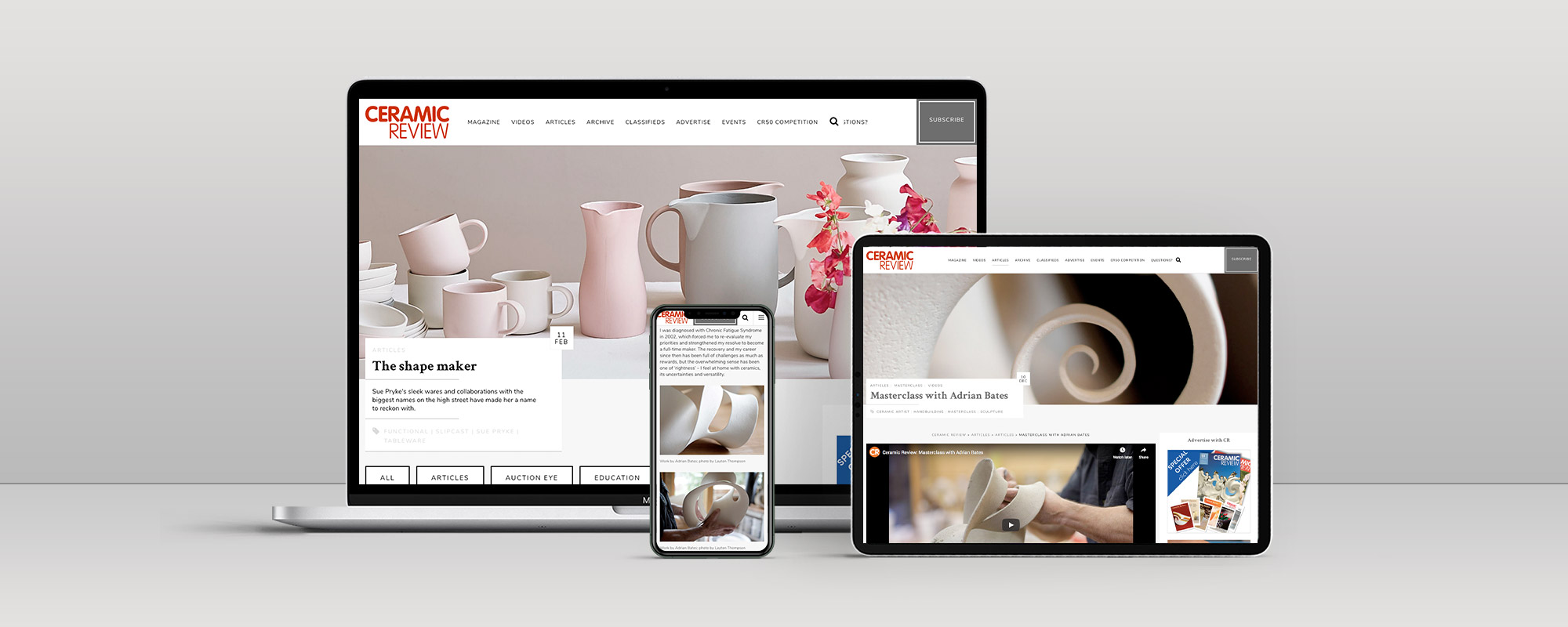 Ceramic Review Wordpress Website Design on 3 Devices