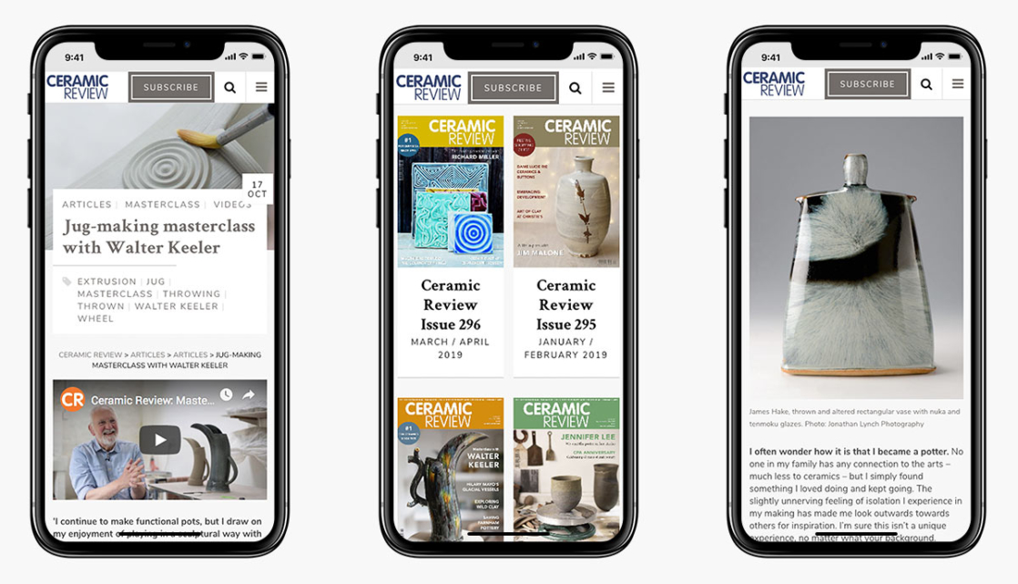 Ceramic Review Wordpress Website Design on Mobile Devices