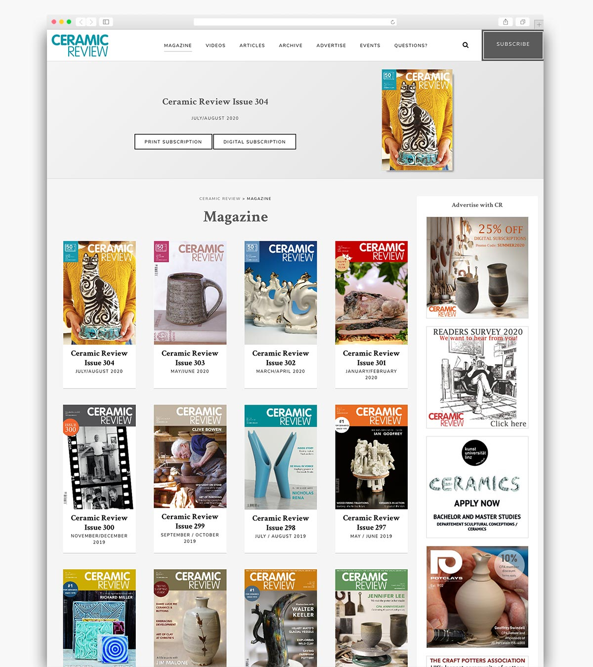 Ceramic Review Wordpress Website Page Design