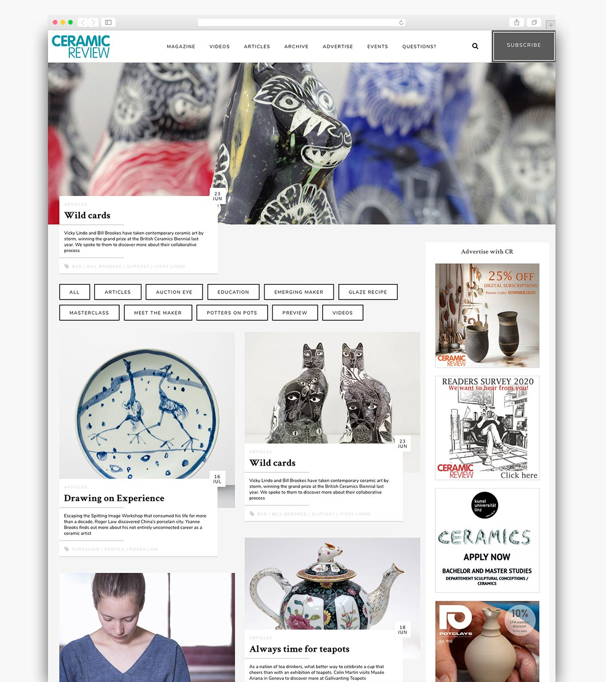 Ceramic Review Wordpress Website Homepage Design