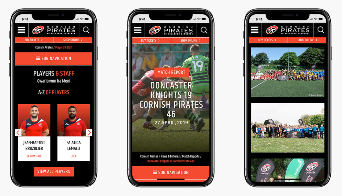 Cornish Pirates Wordpress Website Design on Mobile Devices