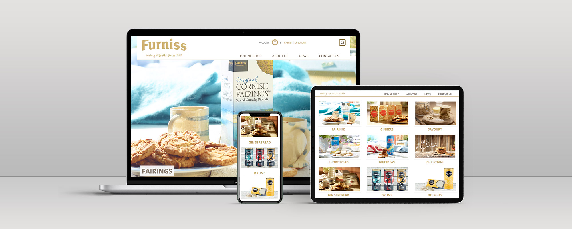 Furniss Foods Magento Ecommerce Website Design on 3 Devices