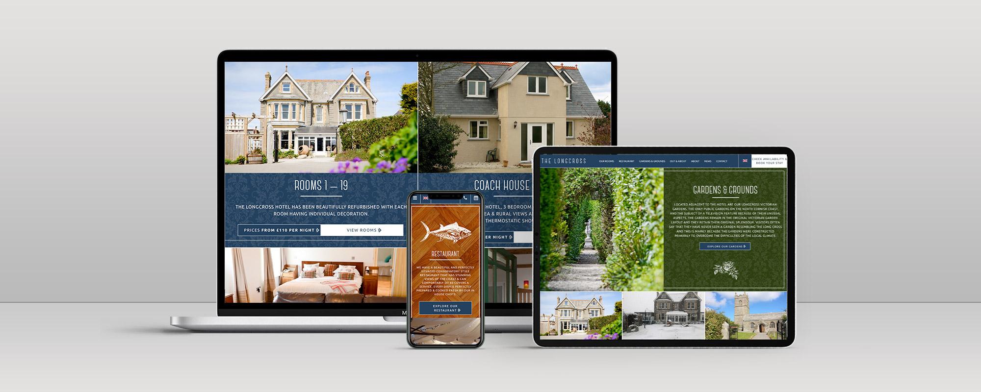 Longcross Hotel Wordpress Website Design on 3 Devices