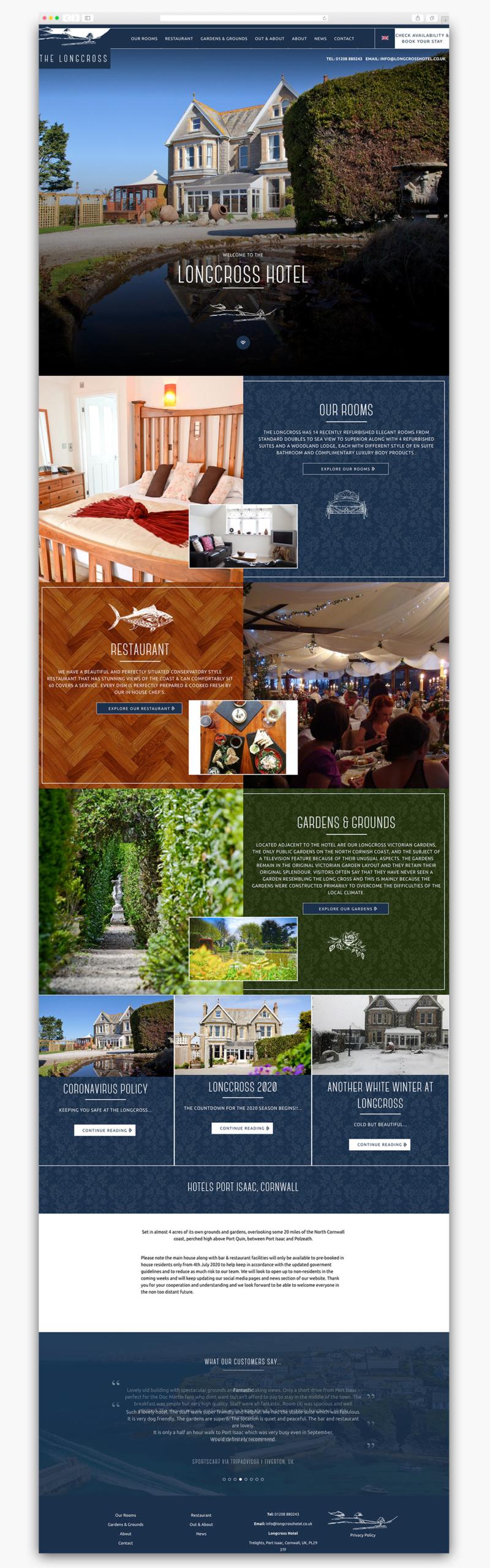 Longcross Hotel Homepage Website Design