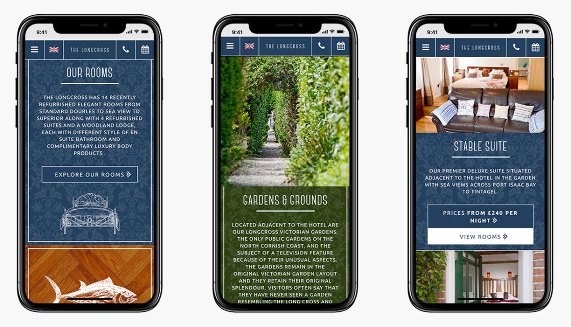 Longcross Hotel Wordpress Website Design on Mobile Devices