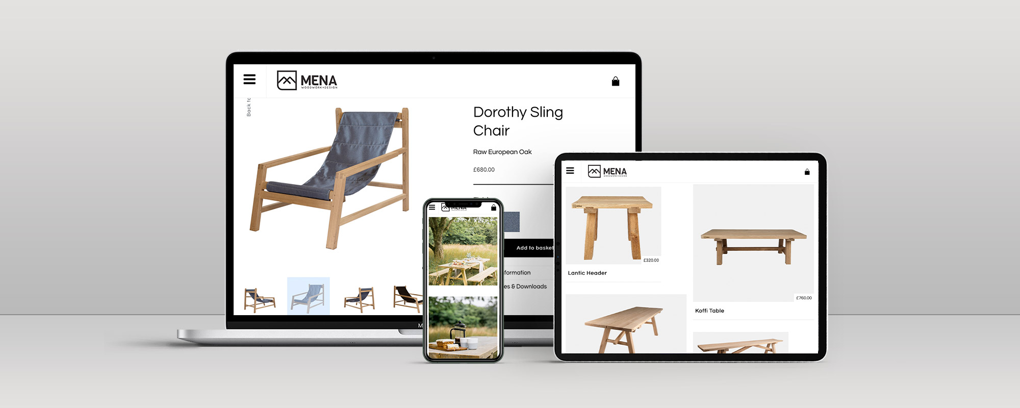 Mena Woodwork Wordpress Website Design on 3 Devices