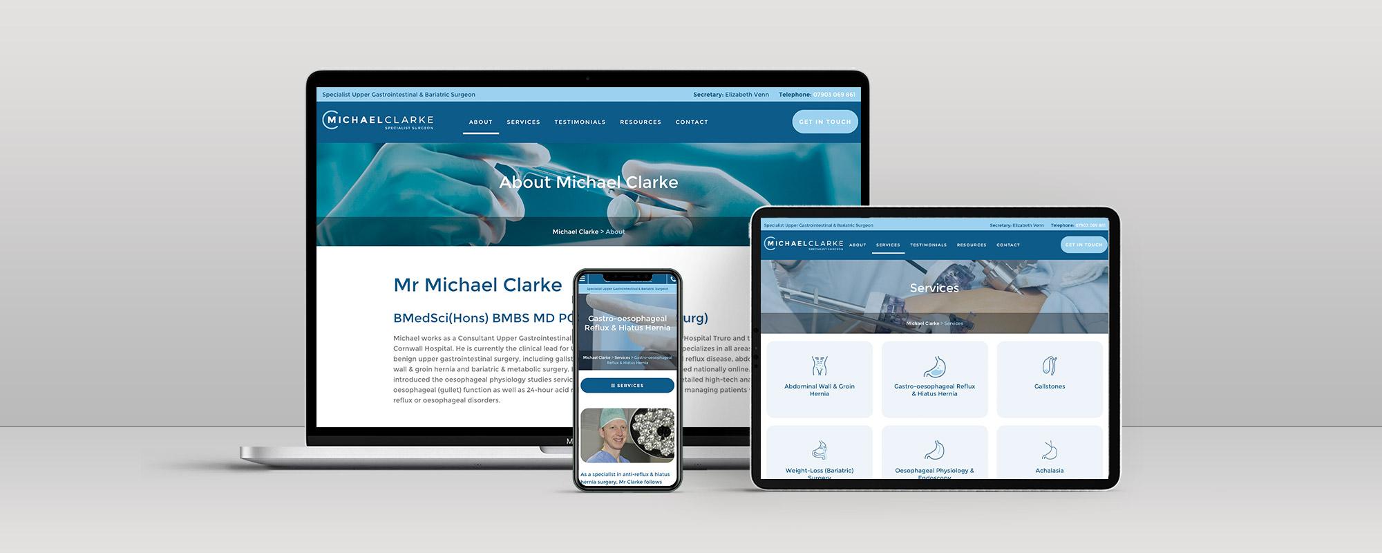 Michael Clarke Wordpress Website Design on 3 Devices