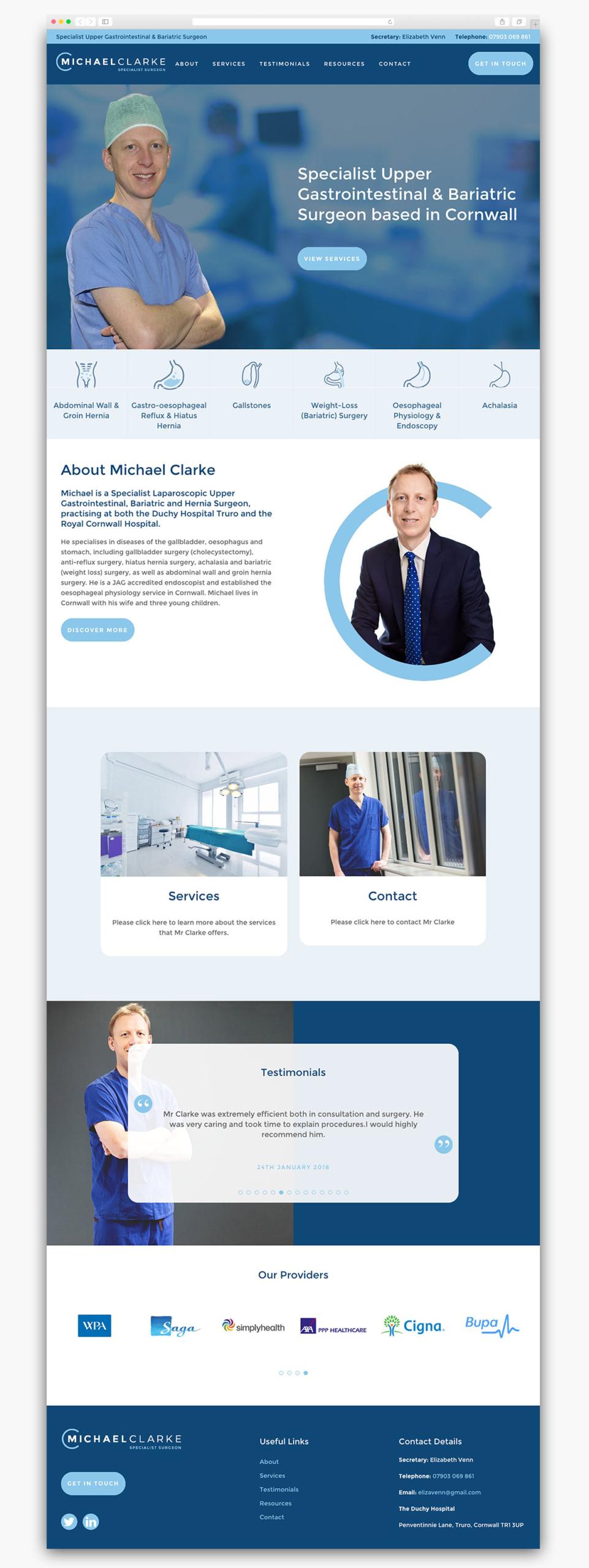 Michael Clarke Homepage Website Design