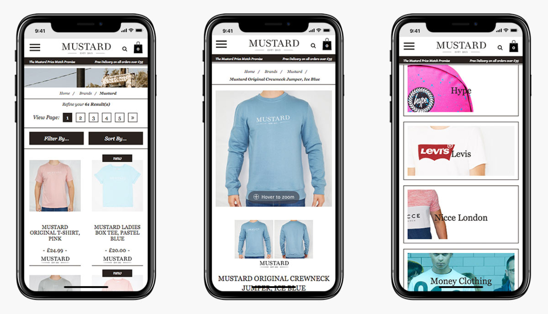 Mustard Clothing Magento Ecommerce Website Design on Mobile Devices