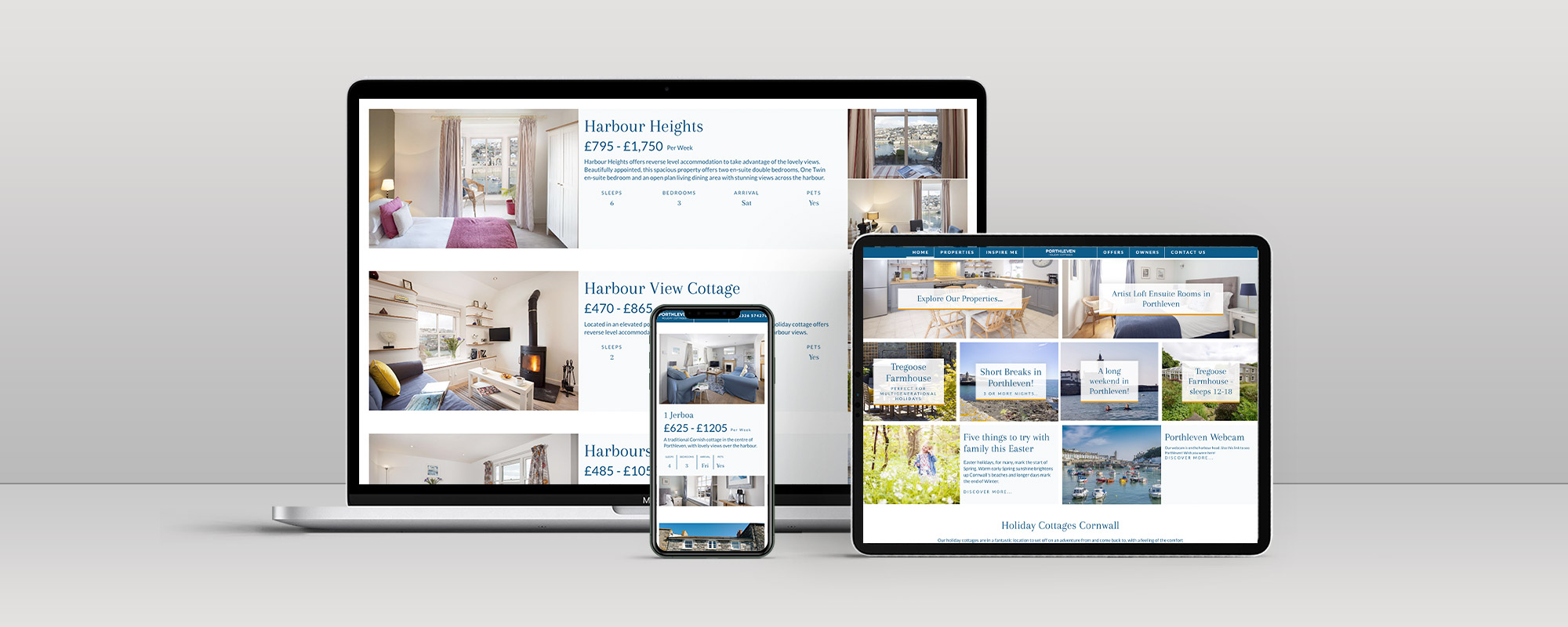 Porthleven Holiday Cottages Website Design on 3 Devices
