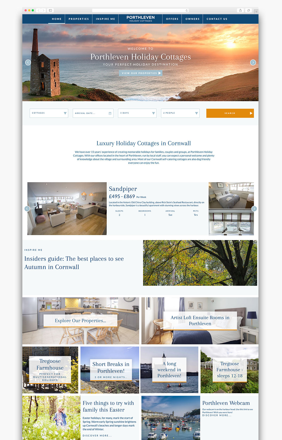 Porthleven Holiday Cottages Website Homepage Design