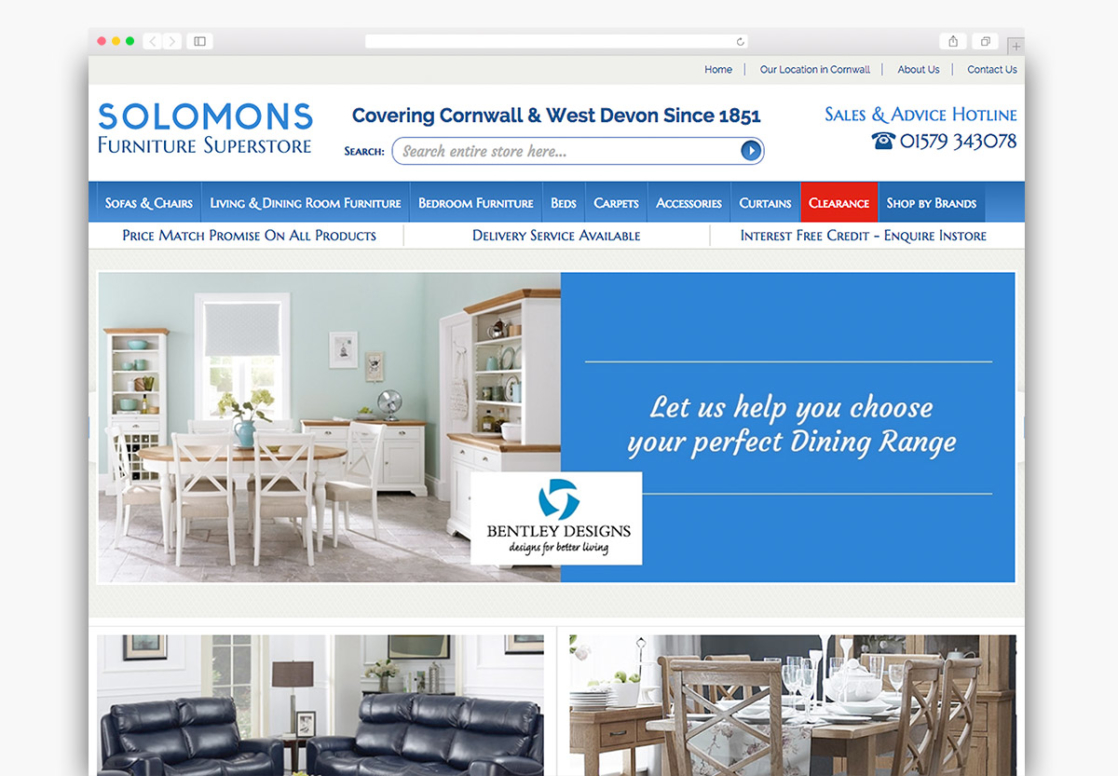 Solomons Furniture Website Homepage Design