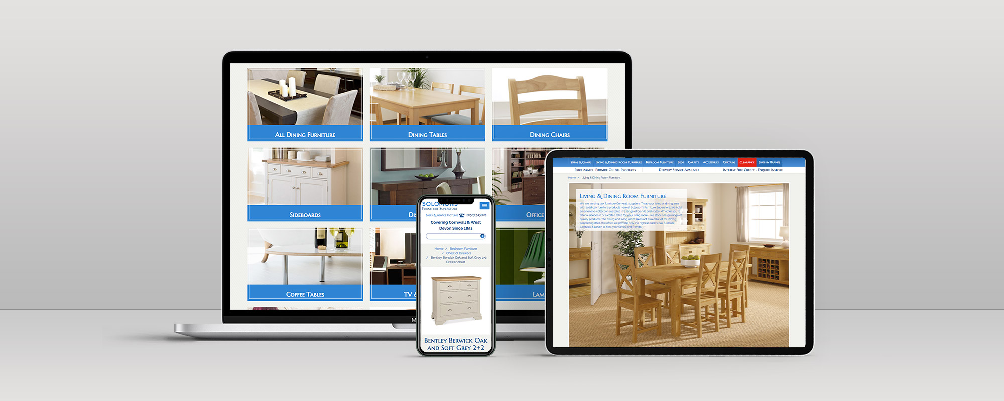 Solomons Furniture Website Design on 3 Devices