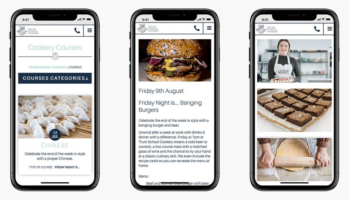Truro School Cookery Wordpress Website Design on Mobile Devices