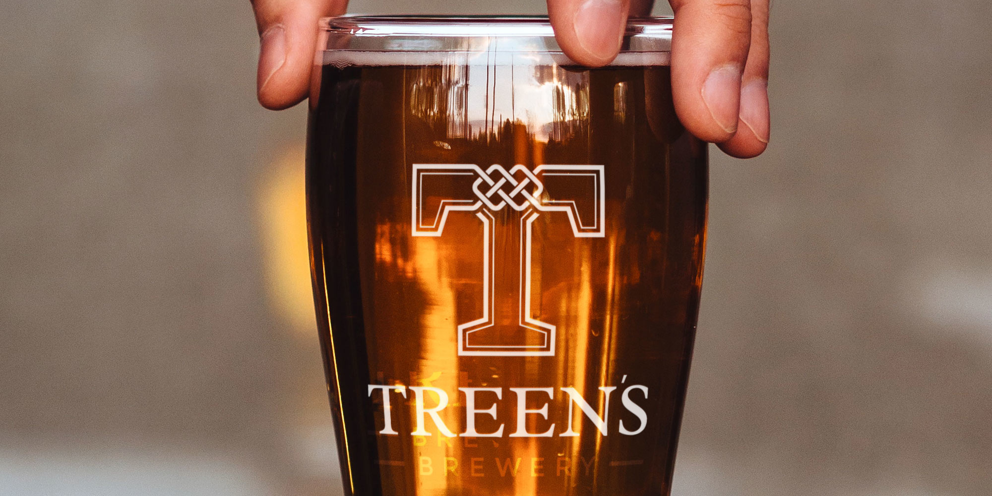 Treen's Brewery Print Design on Pint Glass